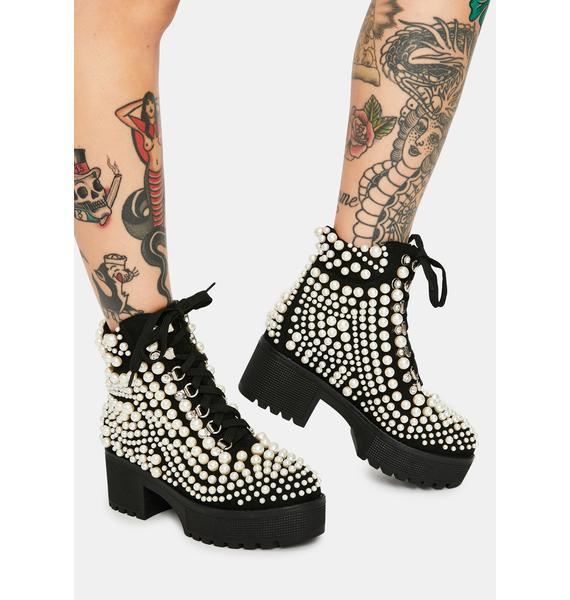 AZALEA WANG Cavalier Pearl Bubble Ankle Boots