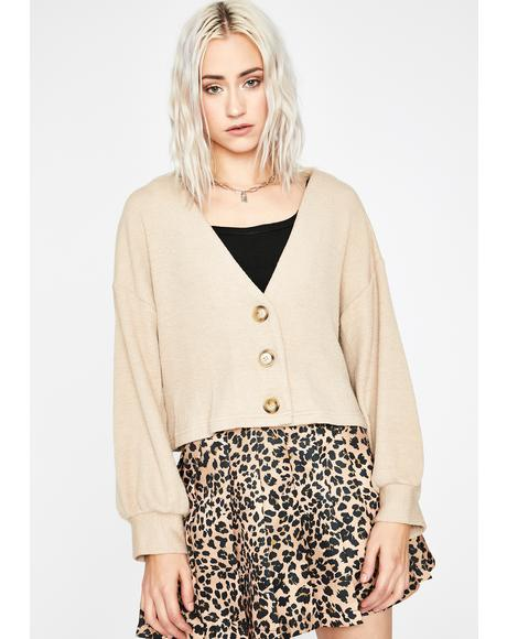Cream Prep Girl Cropped Cardigan