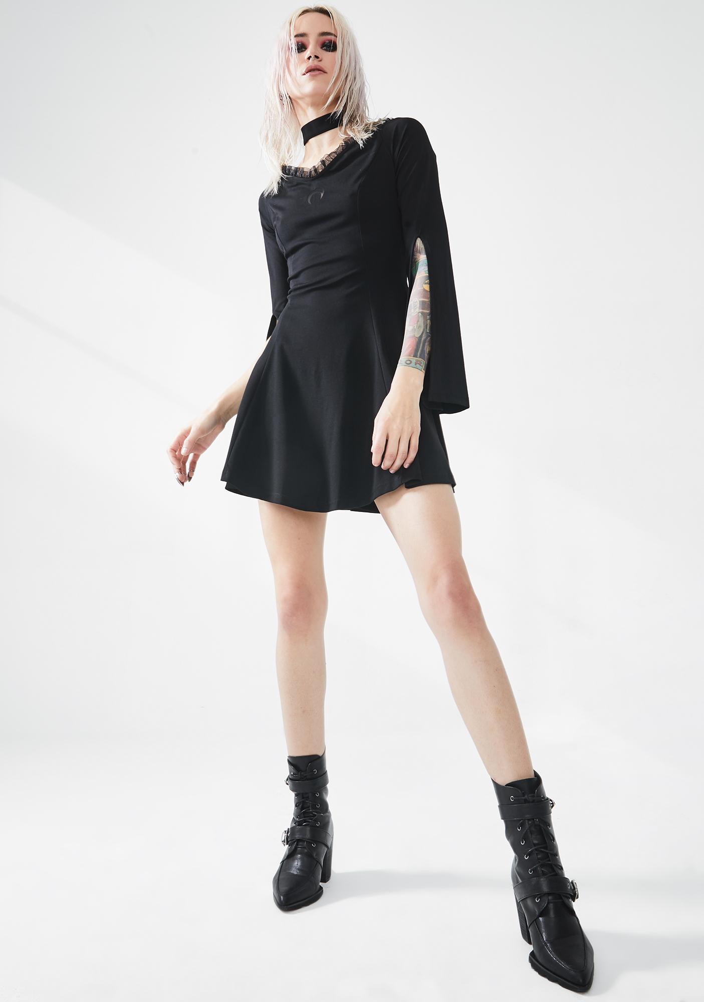 Punk Rave Lunar Eclipse Cut Sleeve Mini Dress