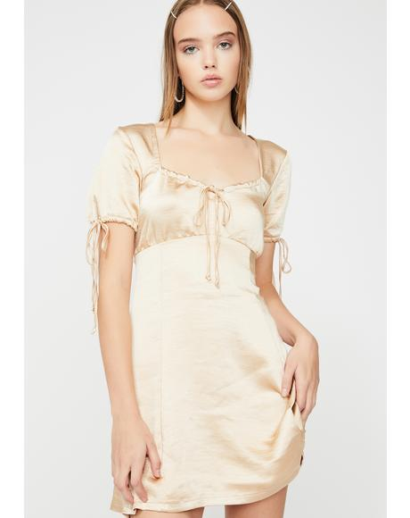 Gold Guenette Satin Dress