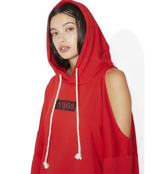 Time After Tell Open Shoulder Hoodie