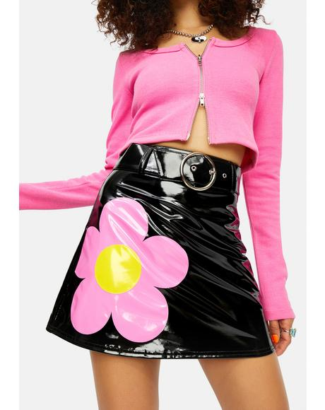 Diggin' Ur Stems Flower Applique Mini Skirt