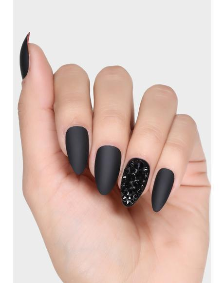 Love Below X Black Press On Nails