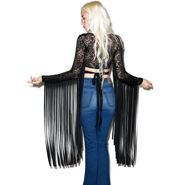 J Valentine Dark Widow Fringed Long Sleeve Top