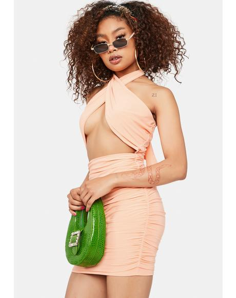 Peach Deal With It Cut Out Halter Dress