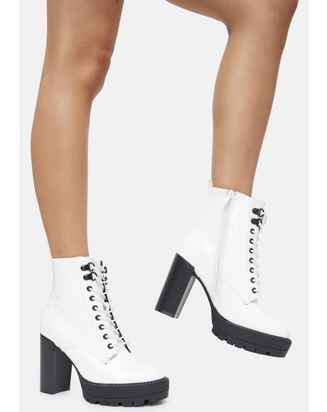 White Patent Asa Heeled Boots
