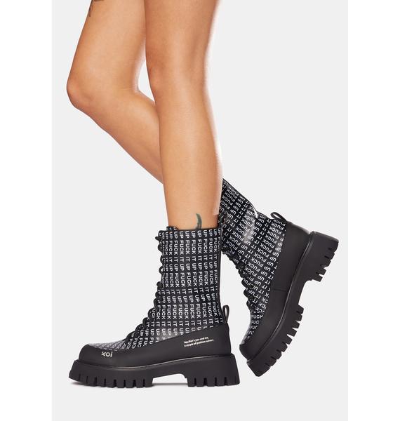 Koi Footwear Black F It Up Military Boots