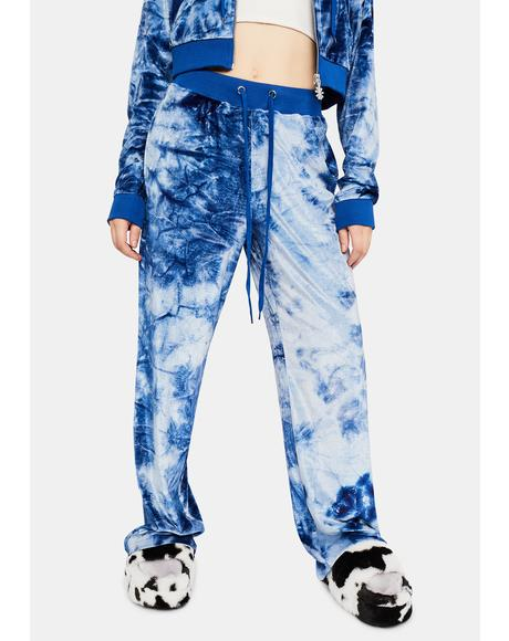 In A Flurry Tie Dye Velvet Lounge Pants