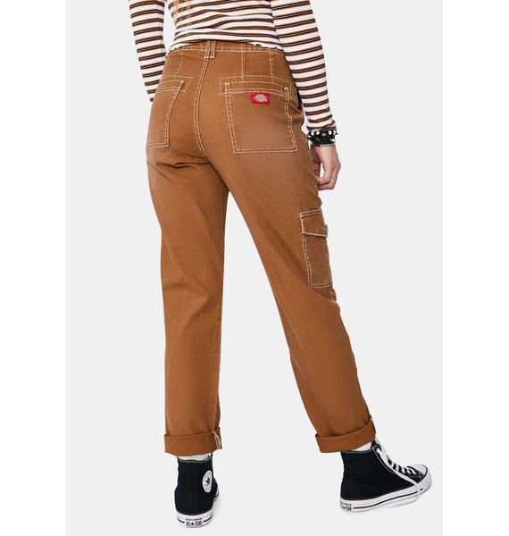 Dickies Girl Brown Roll Hem Cargo Pants