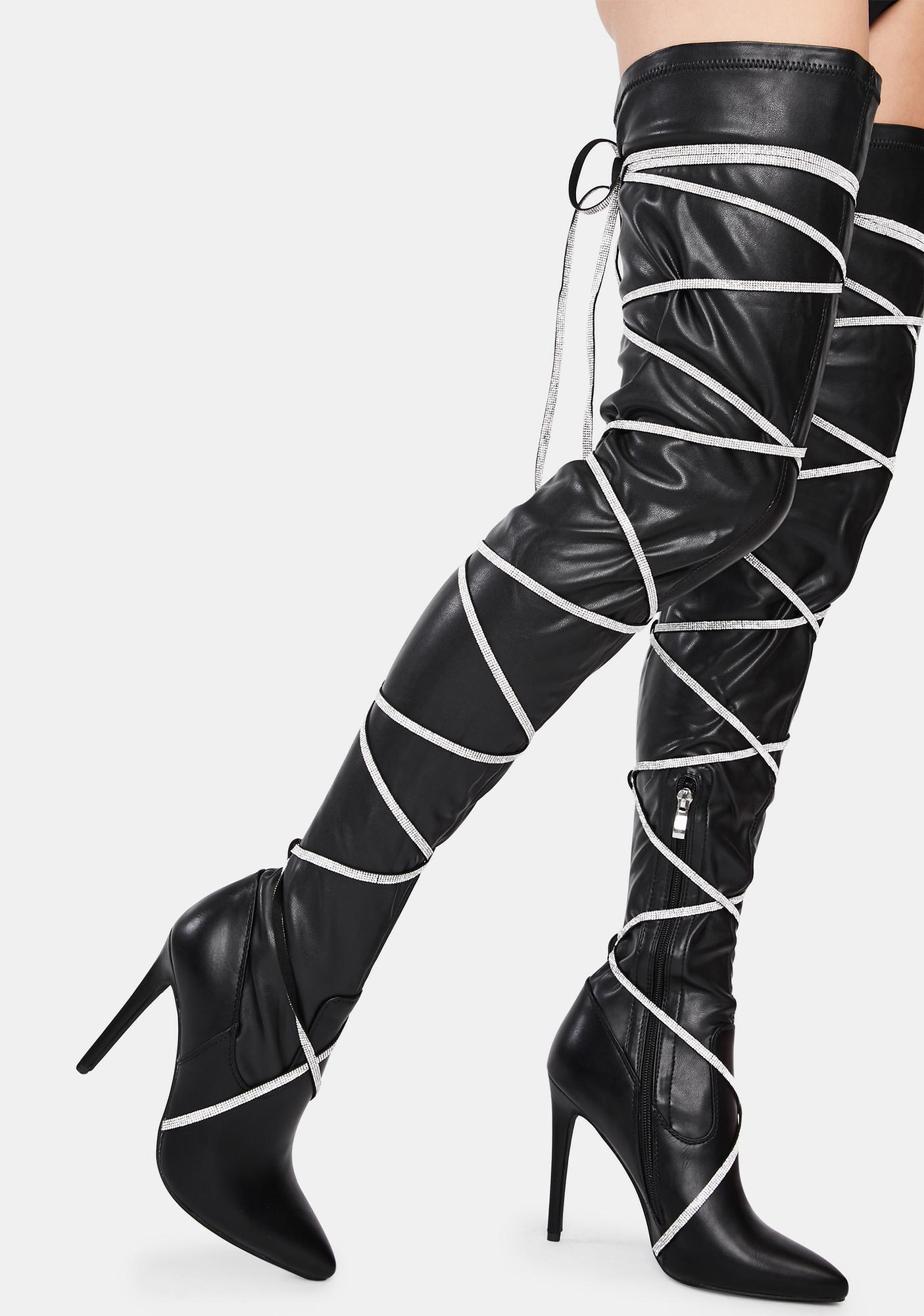 AZALEA WANG Underworld Stiletto Thigh High Boots