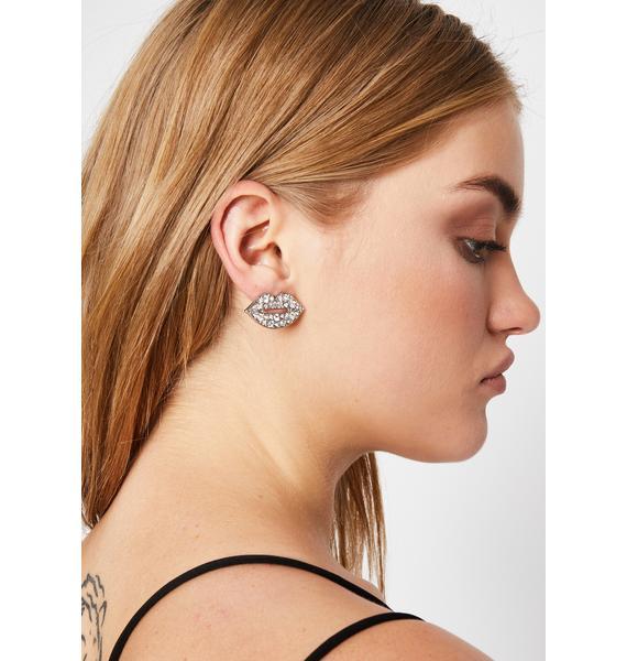 Gimme A Kiss Rhinestone Earrings