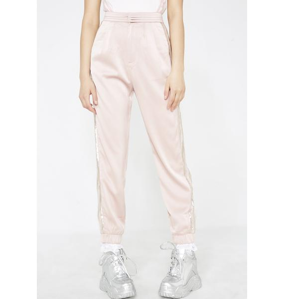 Honey Punch Over Dramatic Satin Joggers