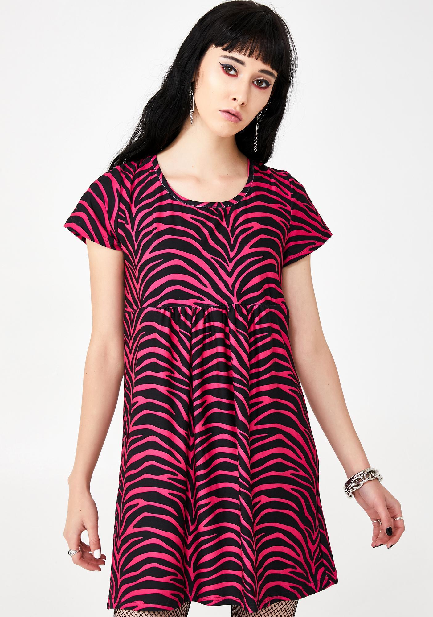 Too Fast Pink Zebra Babydoll Dress