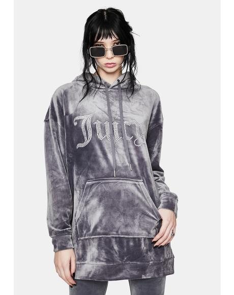 Grey Lounge Luxe Velour Hoodie