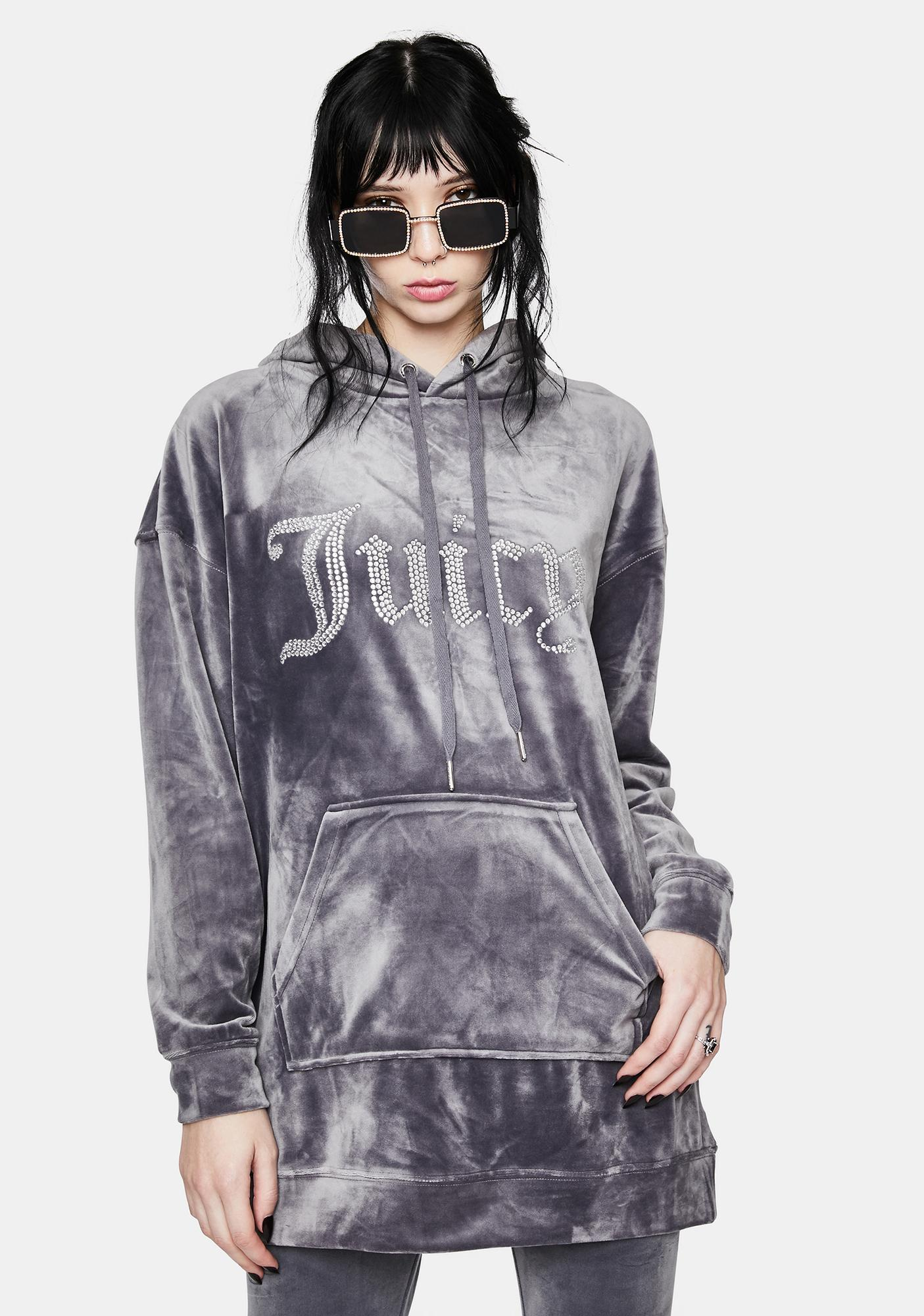 JUICY COUTURE Grey Lounge Luxe Velour Hoodie