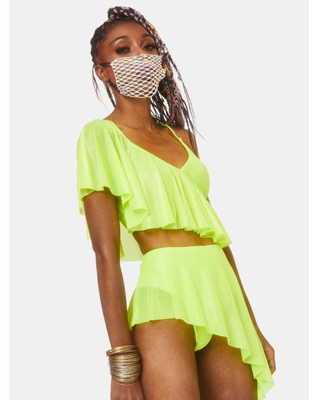 Electric Chapel Mesh Ruffle Top