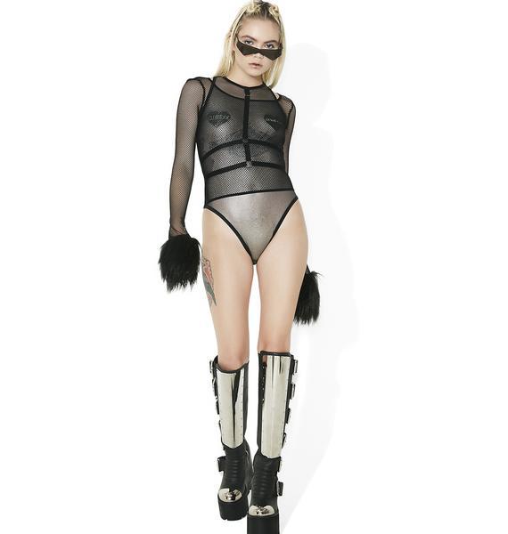 Club Exx Electronaut Silver Mesh Bodysuit