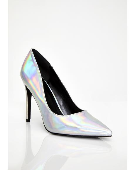 Chrome Cosmic Fantasy Hologram Heels