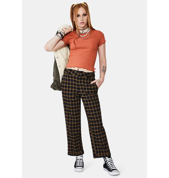 Dickies Girl Plaid Work Crop Roll Hem Pants
