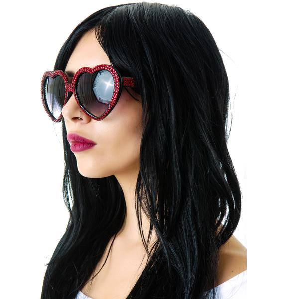 Marialia Ruby Red Swarovski® Heart Sunglasses