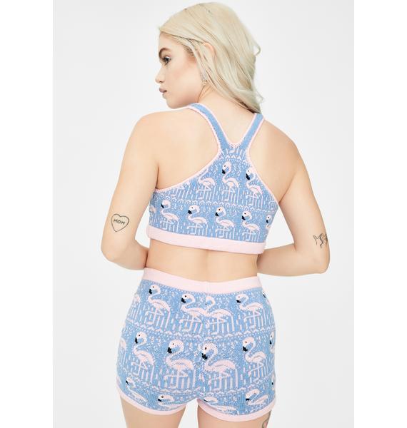 Knitty Kitty Flamingo Knit Shorts