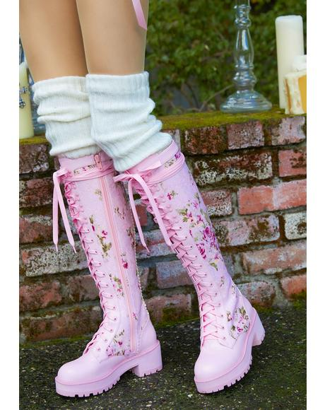 On The Vine Floral Lace Knee High Combat Boots