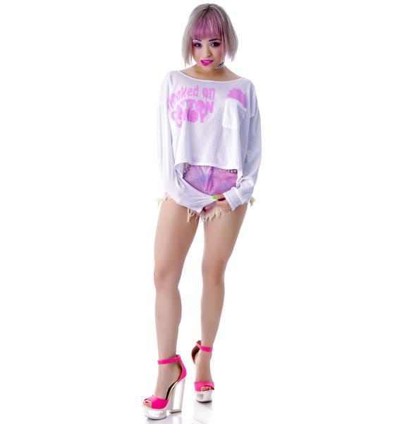 High Heels Suicide Cotton Candy Long Sleep Crop Top
