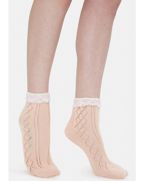 Baby Treat Me Romantically Pointelle Crew Socks