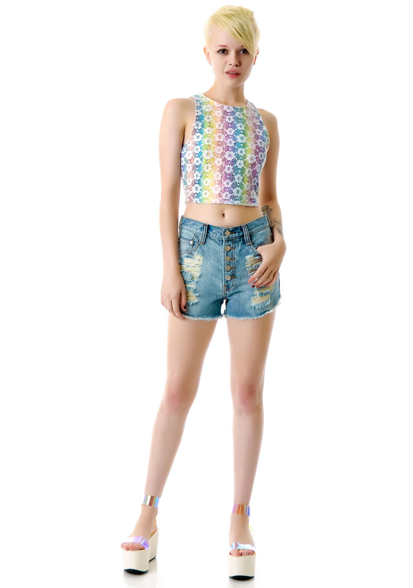 Mink Pink Exposed Slasher Flick Denim Shorts
