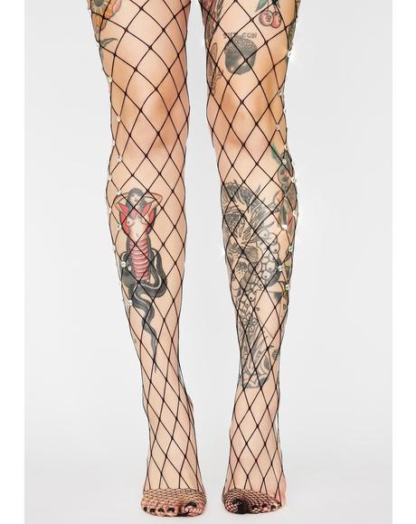 Glitz Rock Rhinestone Fishnet Tights