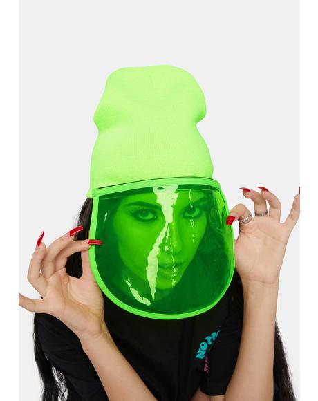 Lime Green Face Shield Beanie