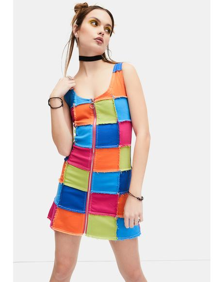 Colorful Life Patchwork Mini Dress