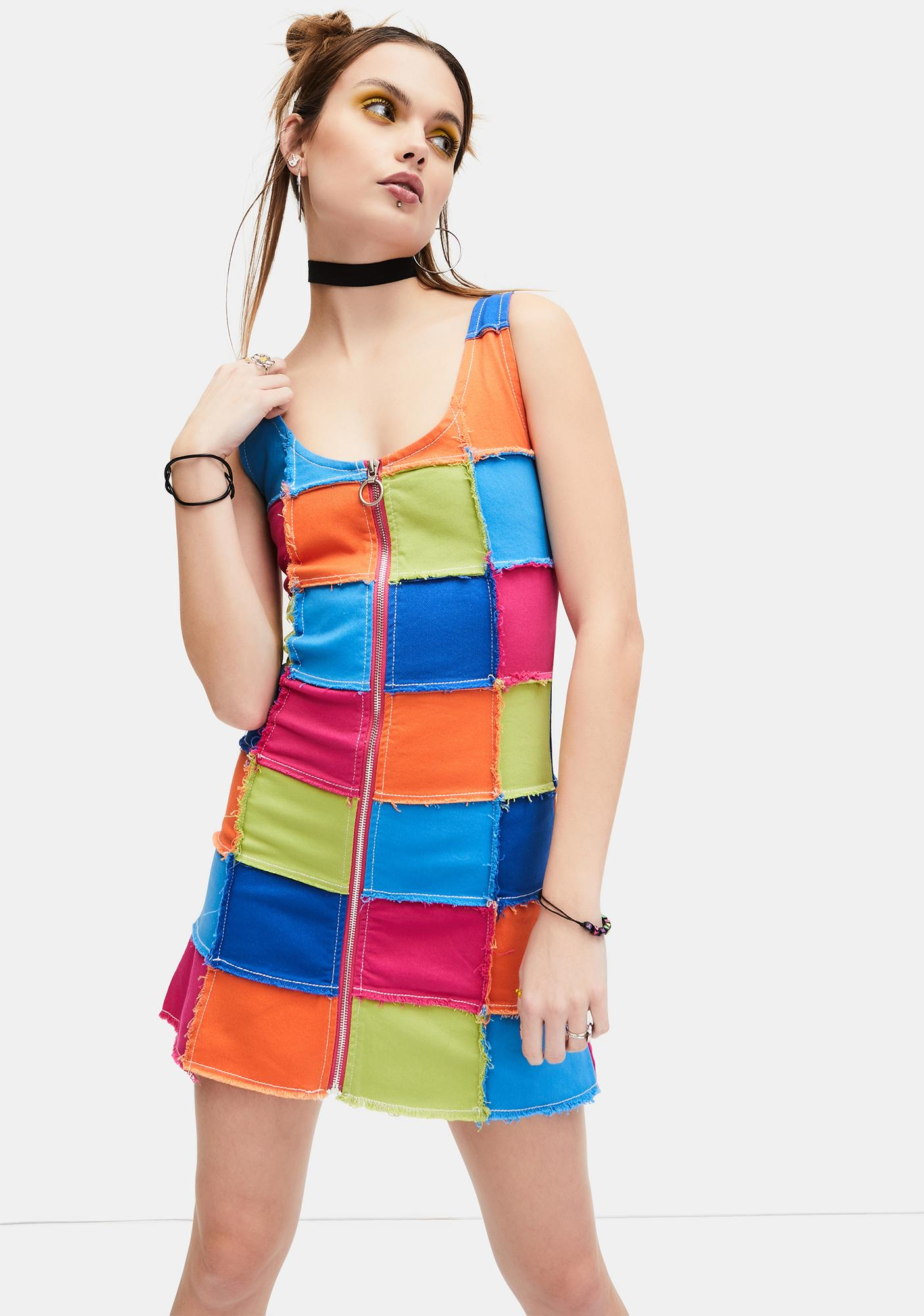dELiA*s by Dolls Kill Colorful Life Patchwork Mini Dress