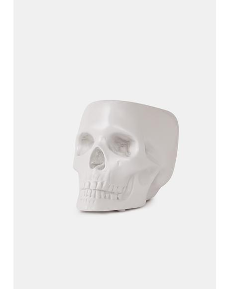 Pebble Full Jaw Skull Pot