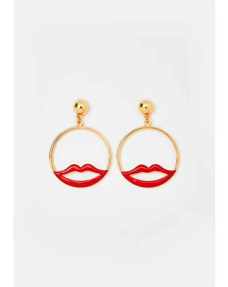 Lip Locked Hoop Earrings