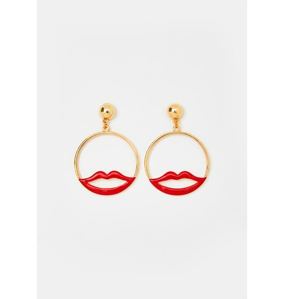 Lip Locked Hoop Earrings