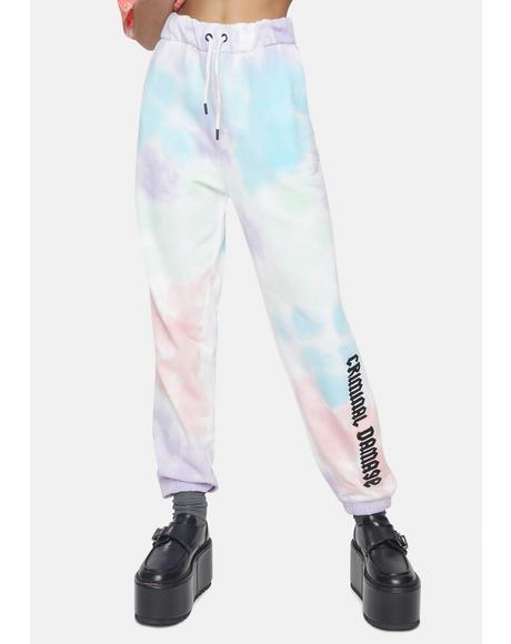 Tie Dye Joggers With Brand Logo