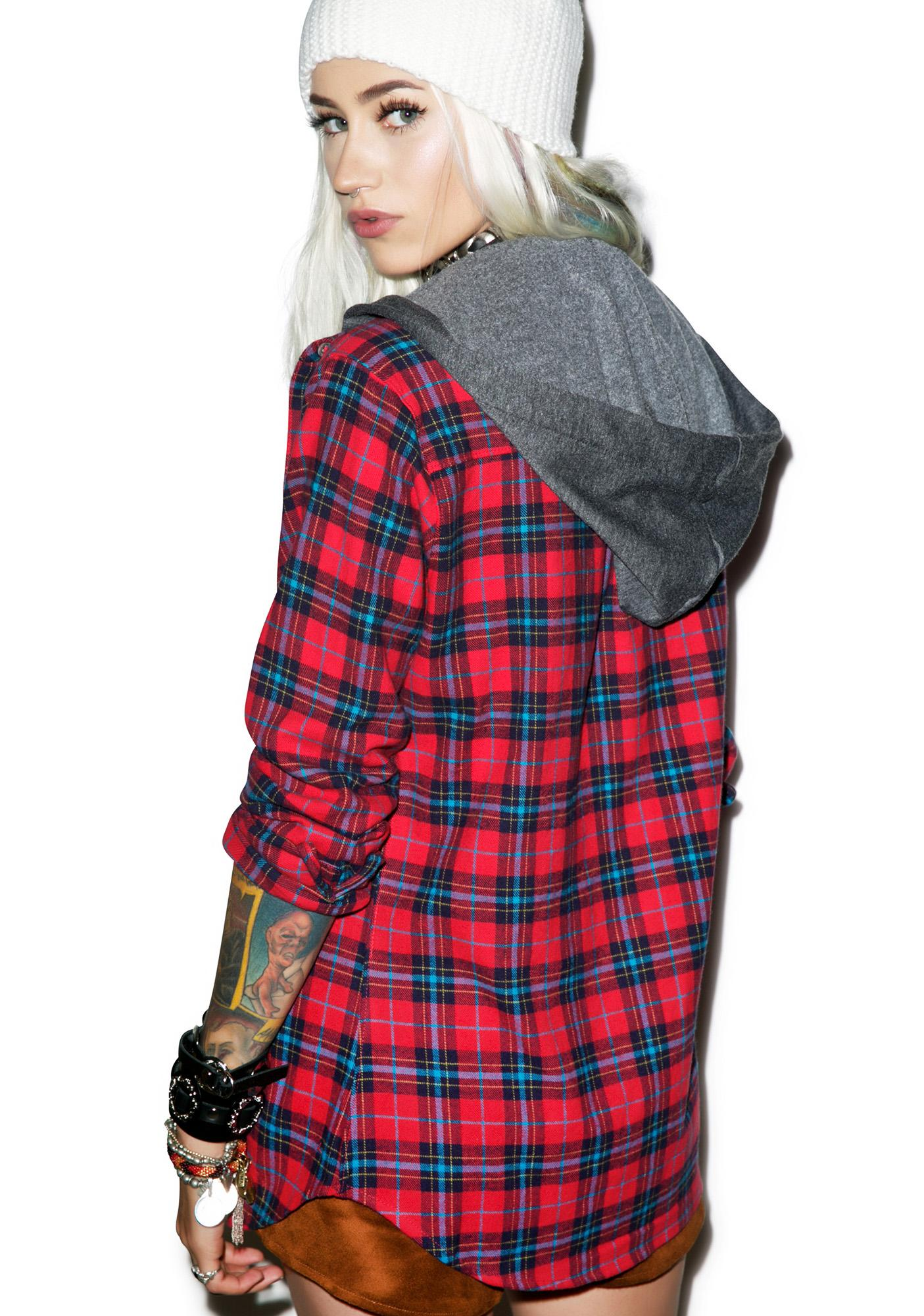JET by John Eshaya Hooded Plaid Shirt