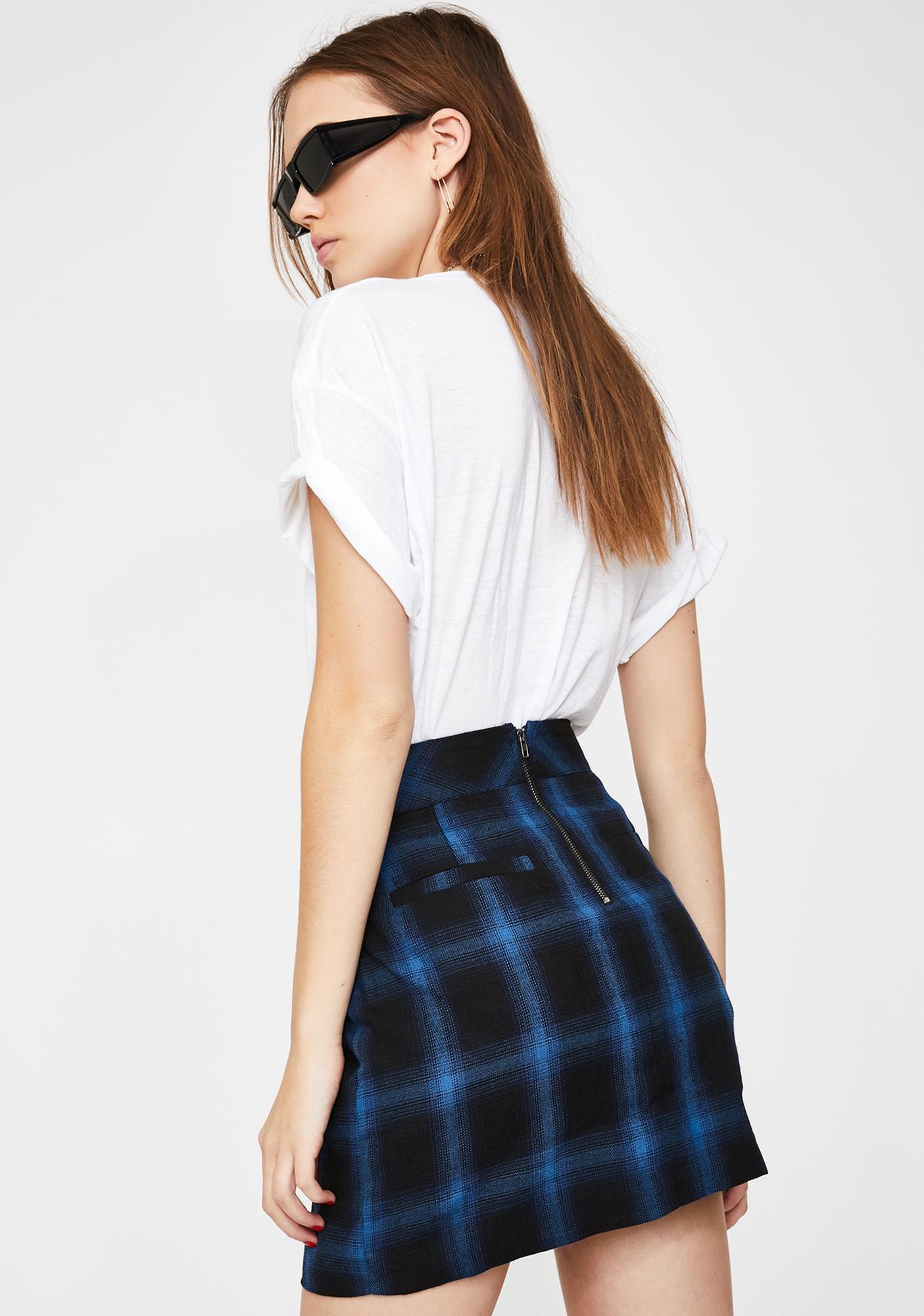Honey Punch Blue Plaid Chain Mini Skirt