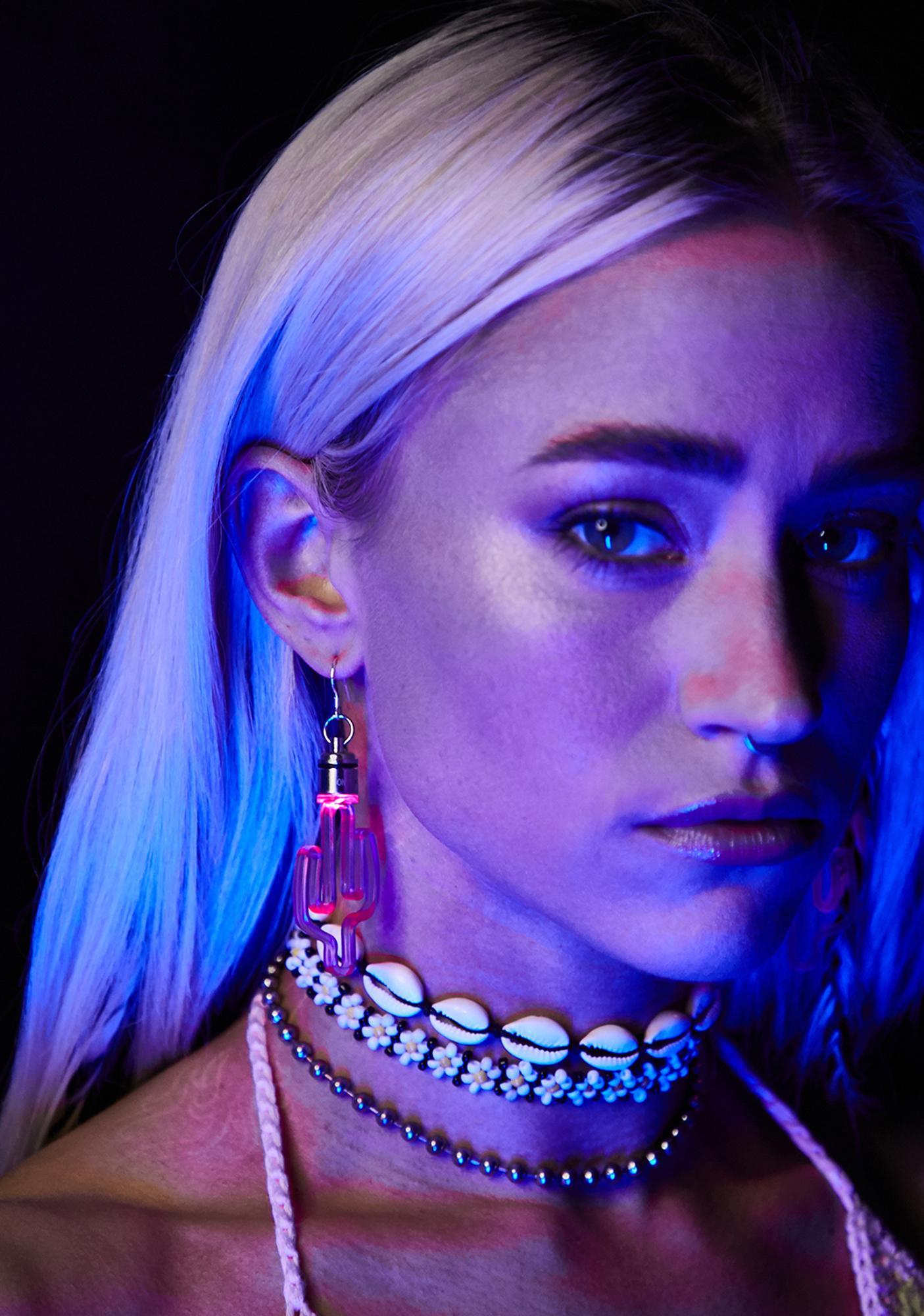 Neon Cowboys LED Cactus Earrings