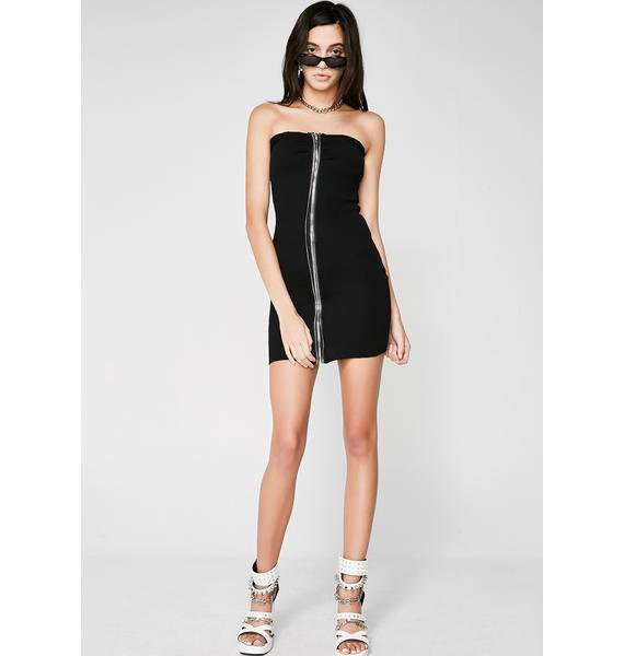 Night Let It Zip Strapless Dress