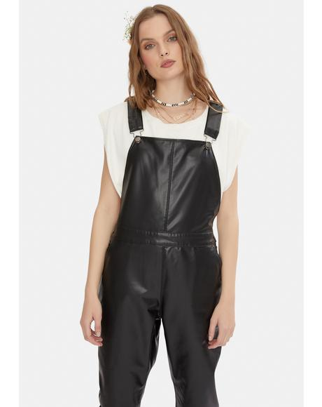 Gets The Jog Done Vegan Leather Overalls