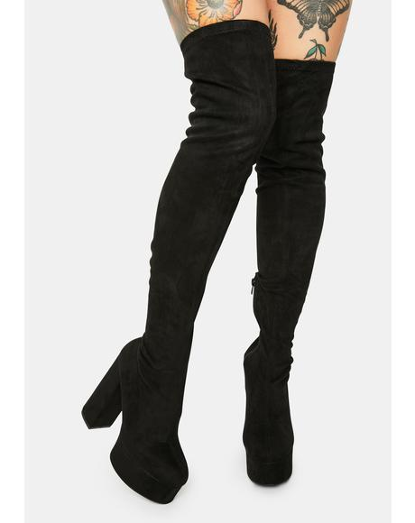 Noir Blackout Miss Behave Thigh High Boots