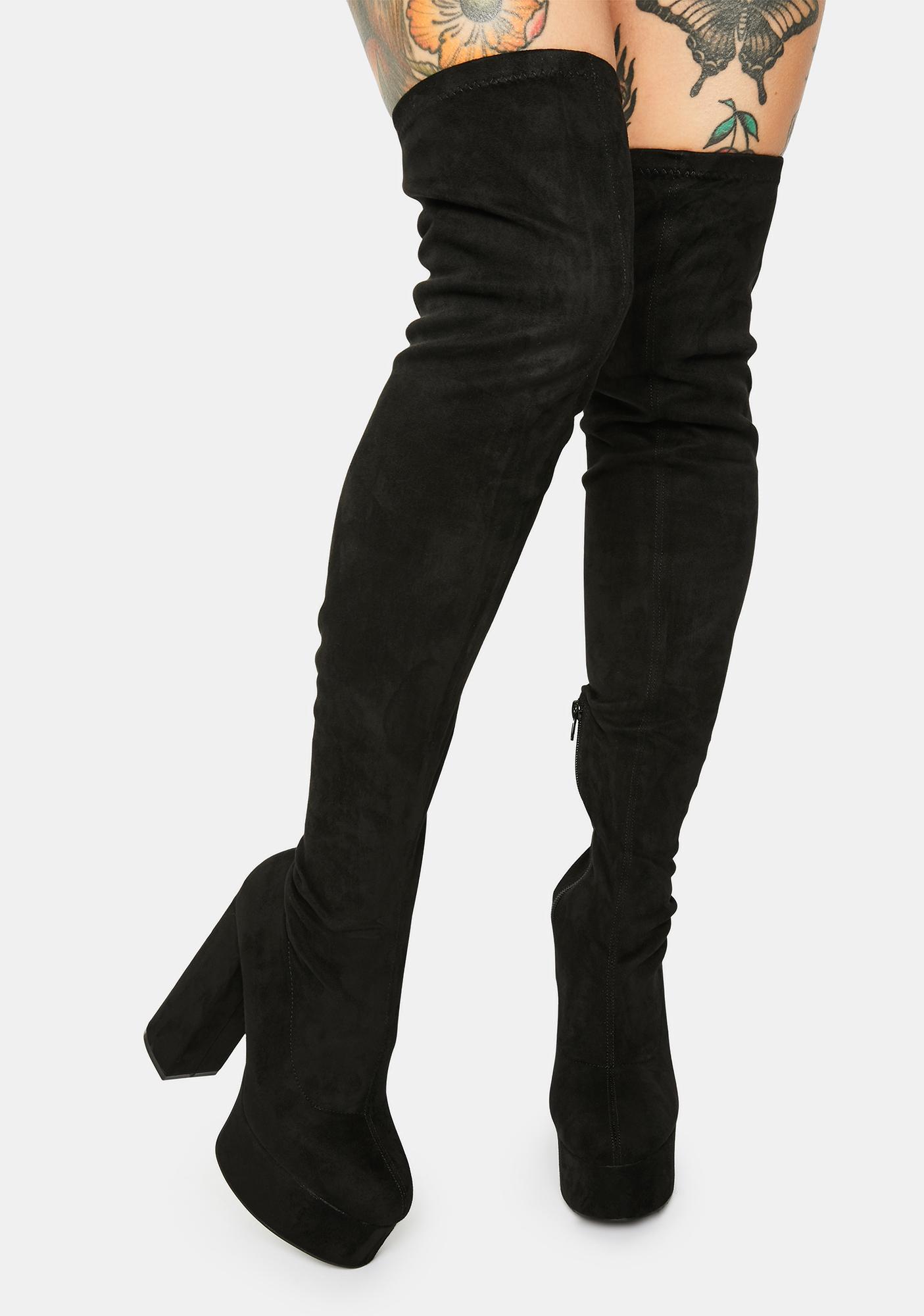 Noir Blackout Miss Behave Thigh High Boots