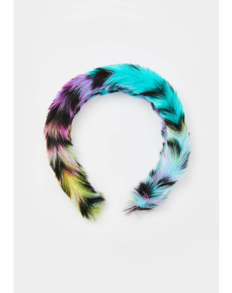 Prismatic Pounce Fuzzy Headband