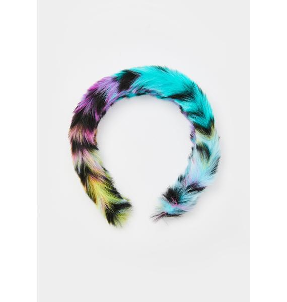 Prismatic Pounce Fuzzy Headband