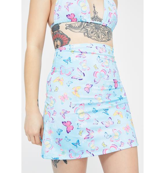 Babydol Clothing Blue Butterfly Mini Skirt