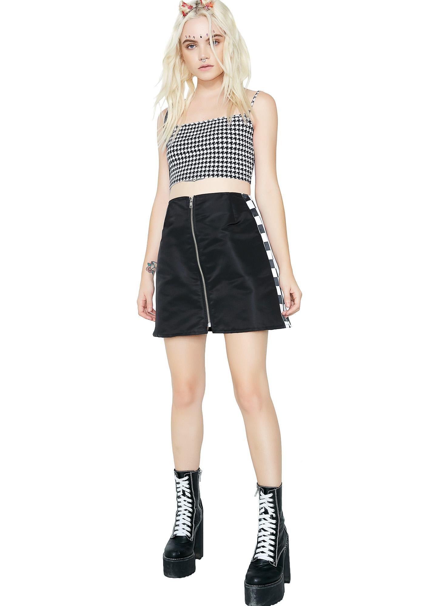 Race Against Time Checkered Mini Skirt