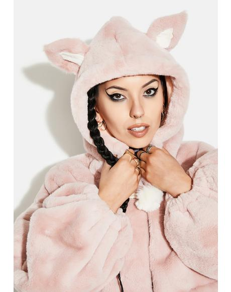 Pink Cat Ears Short Coat