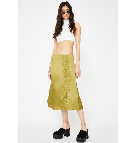Glamorous Three Snaps Satin Skirt